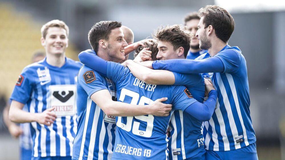 Anders Dreyer har her scoret debutantmål for Esbjerg i sejren over AC Horsens.