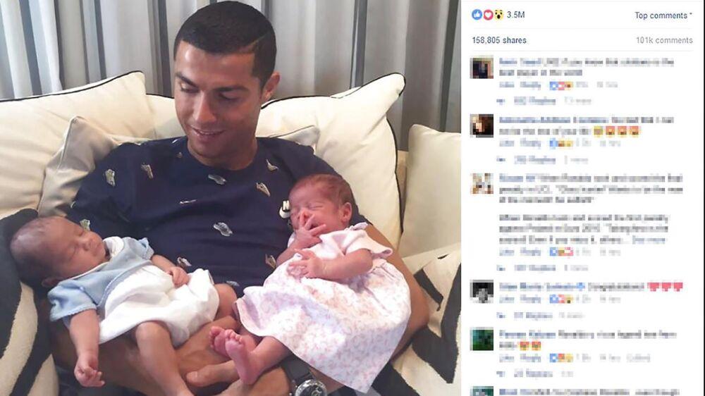 Cristiano Ronaldo med sine nyfødte tvillinger, Mateo og Eva. Men en anerkendt portugisisk læge er utilfreds med, at de er kommet til verden ved hjælp af en rugemor.