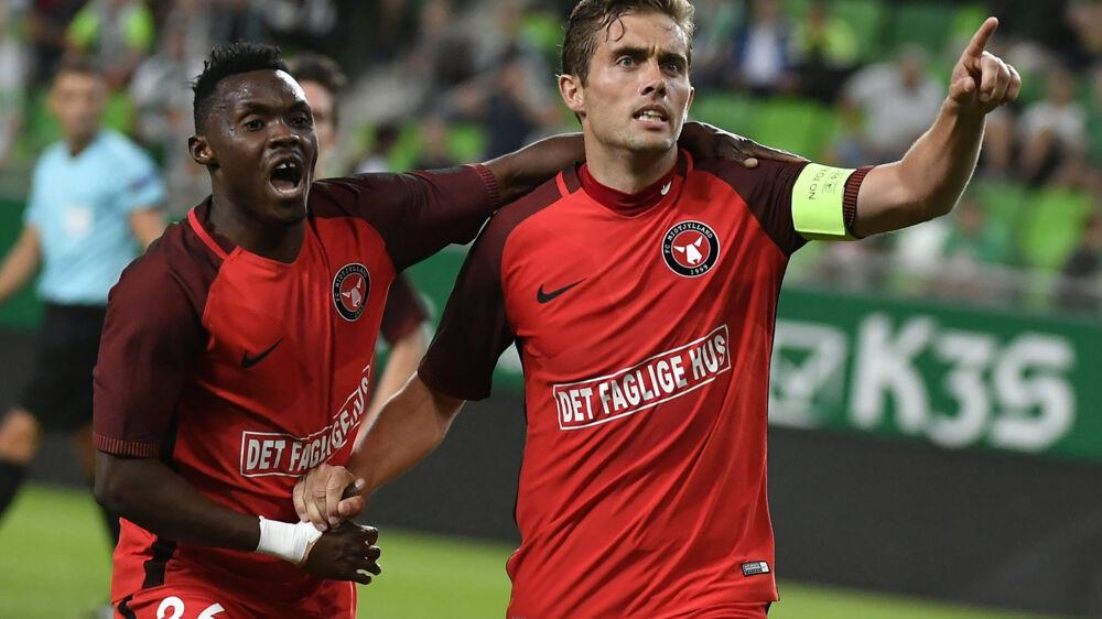 Jakob Poulsen og FC Midtjylland besejrede Ferencvaros 7-3 sammenlagt og er videre i kvalifikationen mod gruppespillet i Europa League. Scanpix/Tibor Illyes