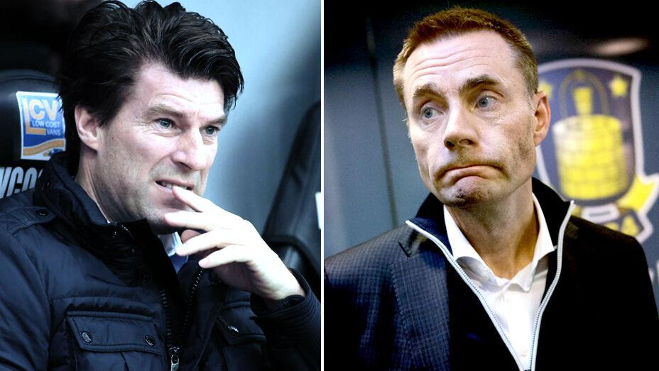 Skal man tro Michael Laudrups rådgiver Bayram Tutumlu, så har Brøndbys hovedaktionær Jan Bech Andersen (th.) forhørt sig om mulighederne på at få Michael Laudrup (tv.) tillbage til Vestegnen