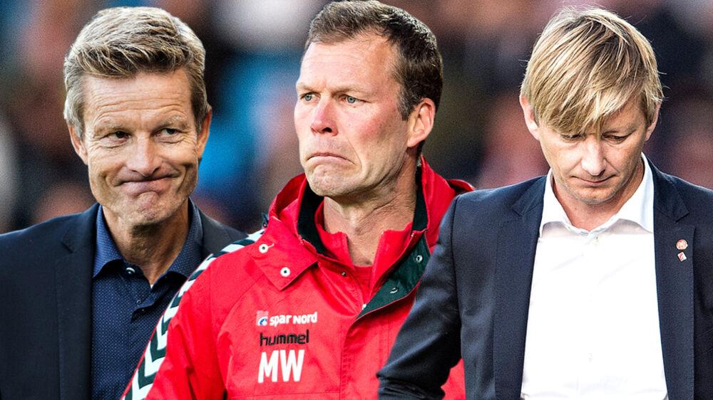 Fra venstre: Tidligere AaB-træner Lars Søndergaard, nuværende chetræner i AaB, Morten Wieghorst samt sportsdirektør Allan Gaarde