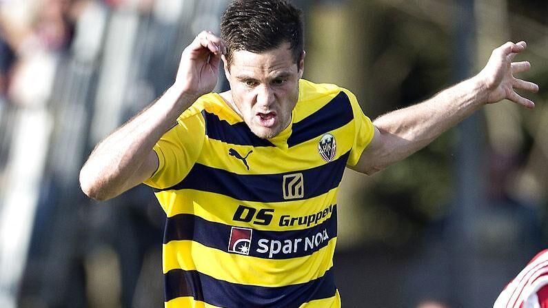 Anders Egholm i Hobro-trøjen, hvor han senest spillede Superliga-bold.