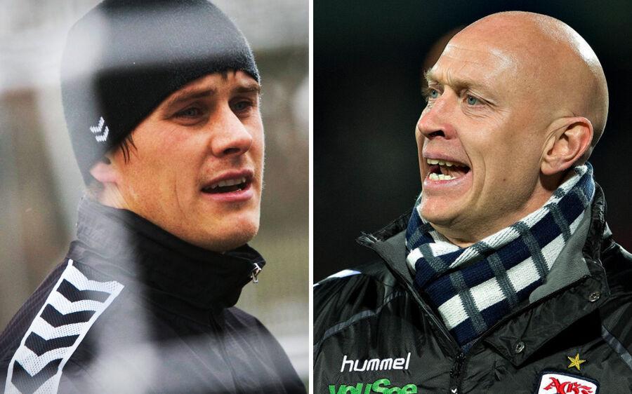 AGFs målmand Steffen Rasmussen og cheftræner Peter Sørensen (th.)