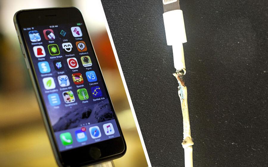 Nicolai Knudsens ledning til hans iPhone 6 smeltede, mens han havde telefonen til opladning i sin computer. Ledningen sendte så meget strøm ind i telefonen, at den blev brandvarm og gik i stykker.