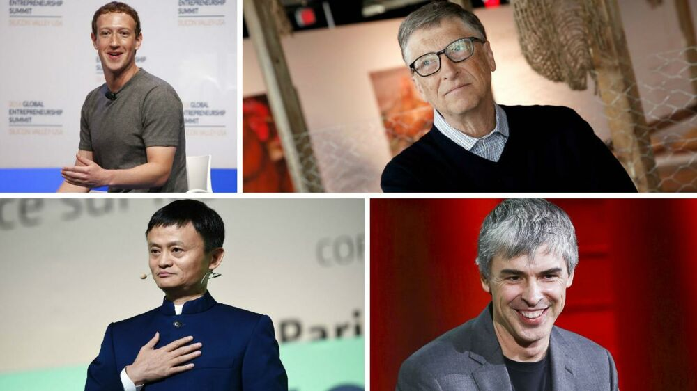 5.946 milliarder kroner eller 892 milliarder dollars - så stor en formue har verdens 100 rigeste teknologimilliardærer tilsammen. Blandt dem er Facebooks Mark Zuckerberg (øverst til venstre), Microsofts Bill Gates (øverst til højre), Alibabas Jack Ma (nederst til venstre) og Googles Larry Page (nederst til højre). Arkivfoto: Scanpix