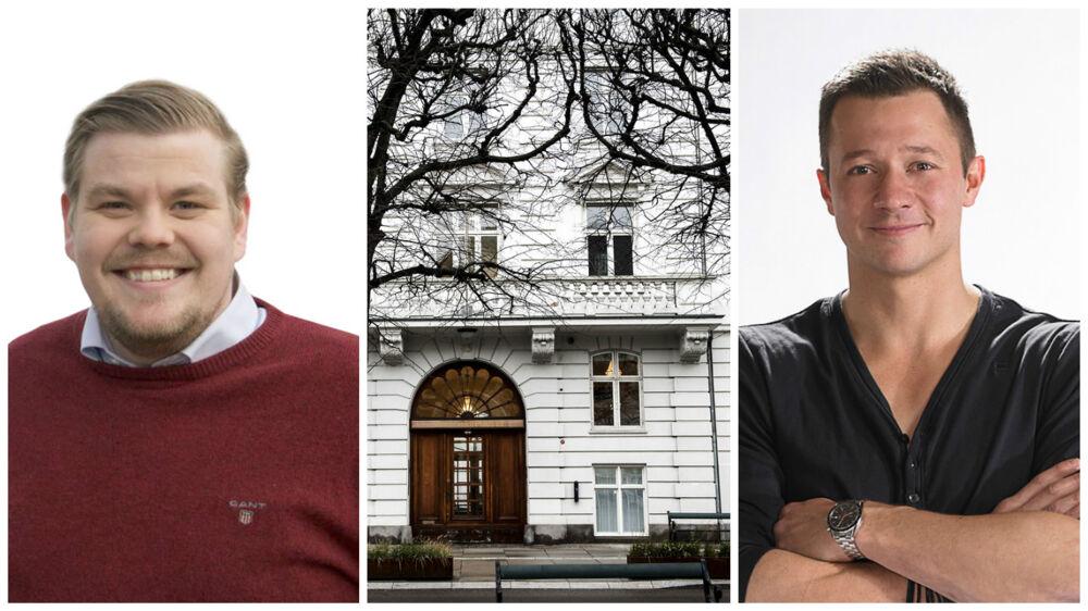 Til venstre Chris Bjerknæs, til højre Lars Godbersen. I midten ses bygningen på Sct. Annæ Plads 13, hvor Probana Business School holder til.