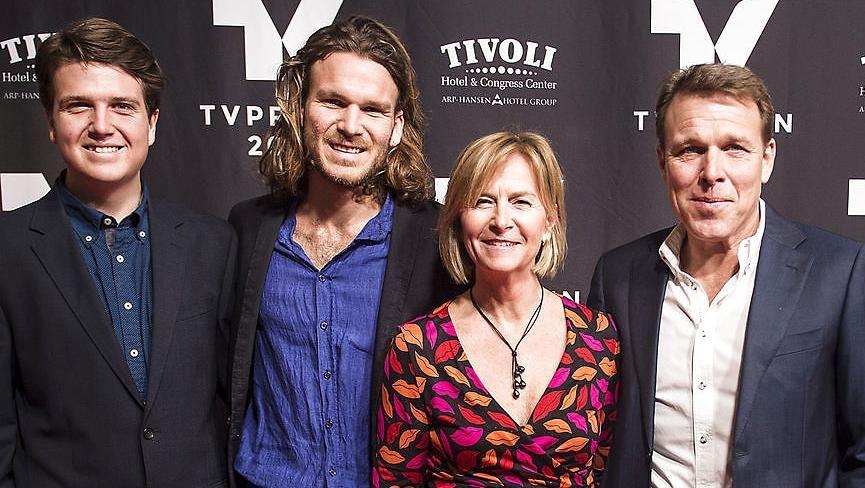 Familien Beha Erichsen, fra venstre Theis, Emil, Marian og Mikkel.