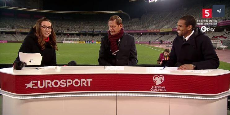 Sådan så det ud i Kanal 5-dækningen. Kanal 5 i hjørnet og Eurosport på bordet.