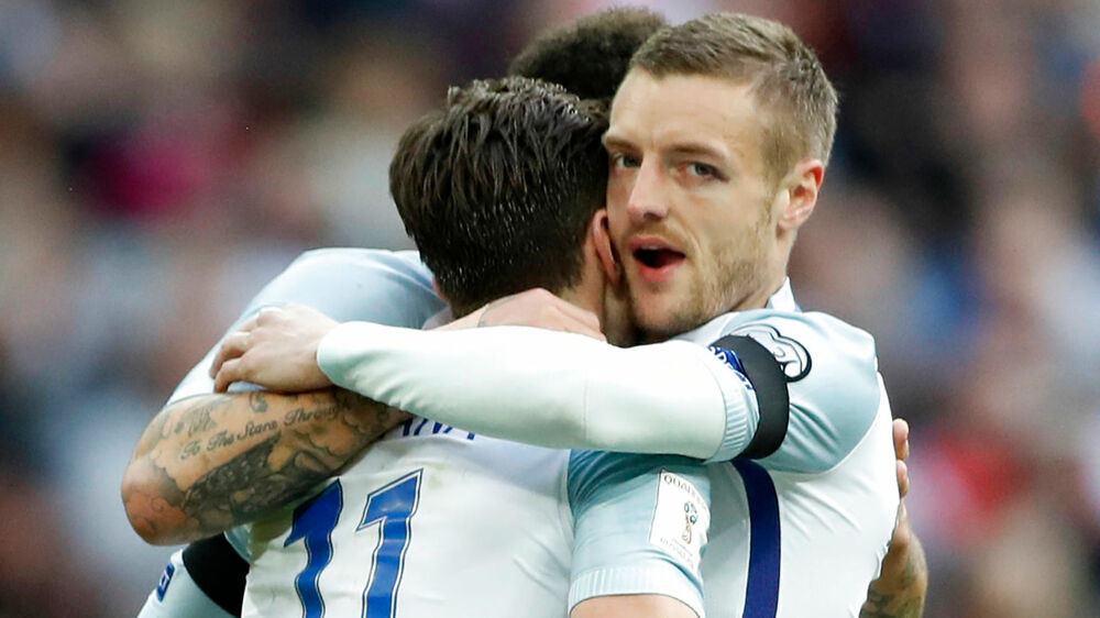 Britain Football Soccer - England v Lithuania - 2018 World Cup Qualifying European Zone - Group F - Wembley Stadium, London, England - 26/3/17 England's Jamie Vardy celebrates scoring their second goal Action Images via Reuters / Carl Recine Livepic EDITORIAL USE ONLY.