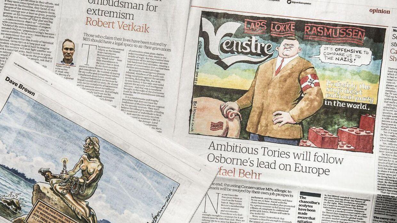 Satiretegninger om de danske asylstramninger fra de engelske aviser The Guardian og The Independent.