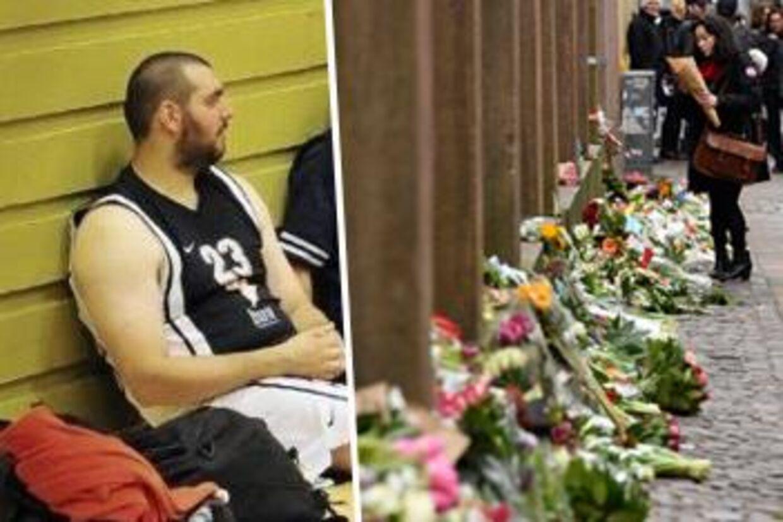 Dan Uzan (tv.) var et stort aktiv i basketballklubben Hørsholm 79'ers. Han har tidligere spillet på klubbens førstehold i den bedste danske række. Til højre ses blomster foran synagogen i Krystalgade, hvor Dan Uzan blev skudt og dræbt natten til den 15. februar 2015.