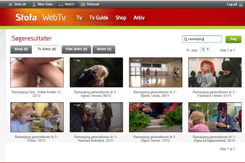 Det kopulerende par var første resultat, når man søgte på »ramasjang« i Stofa Web-tvs arkiv.
