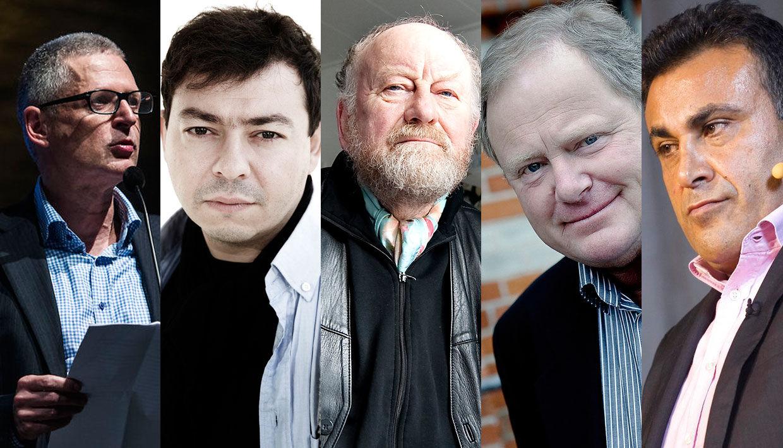 Fem af Muhammed-krisens nøglepersoner: Flemming Rose, Ahmed Akkari, Kurt Westergaard, Carsten Juste og Naser Khader.