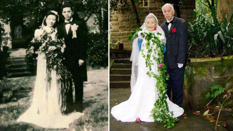 Her ses de to bryllupsfoto - til venstre det orginale, der blevet taget på parrets bryllupsdag for 70 år siden - og til højre det nye, der blev taget i november.