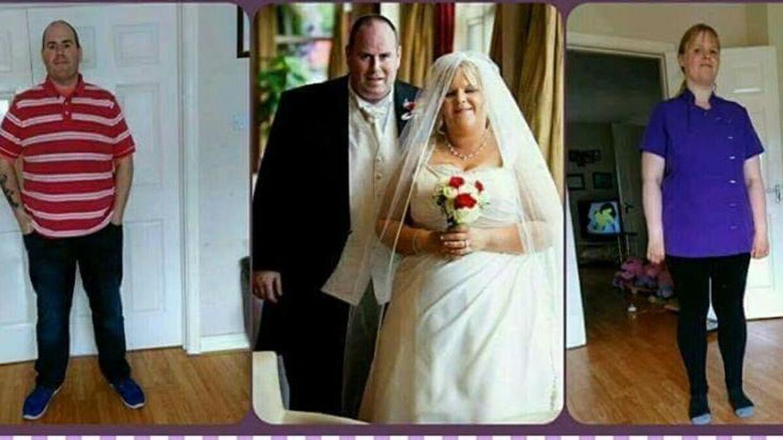 Her ses et før og efter billede af parret.