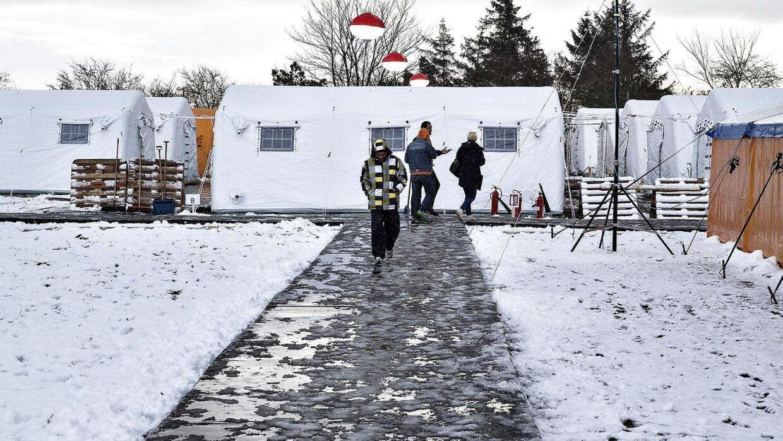 Snedækket flygtningelejr hos Beredskabscenter Thisted, der blev oprettet i 2015.