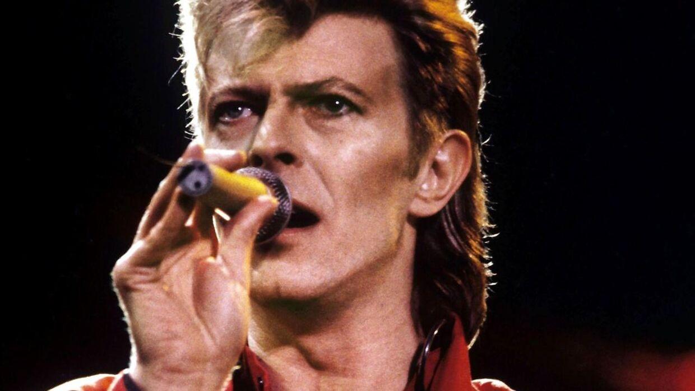 Arkivfoto af David Bowie under en koncert i 1987.