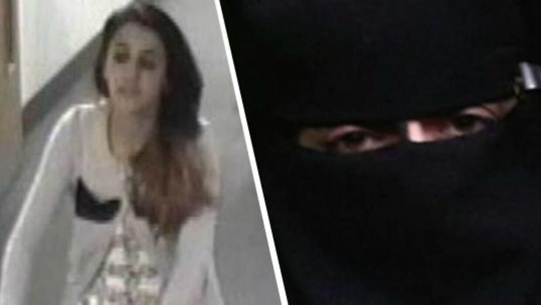 Politifoto af Tareena Shakil i lufthavnen og et der angiveligt er hende iført heldragt.