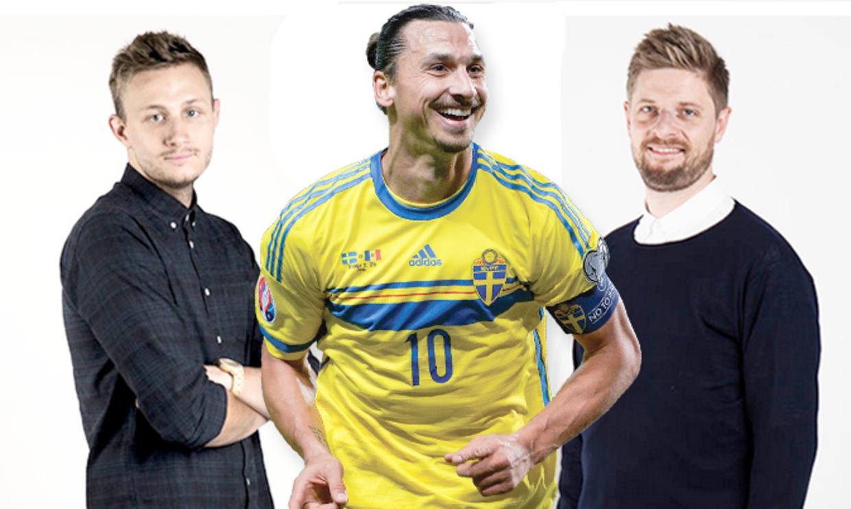 BTs fodboldkommetator Søren Hanghøj Kristensen og BTs fodboldredaktør Morten Crone Sejersbøl chatter om Zlatan Ibrahimovic (midten)