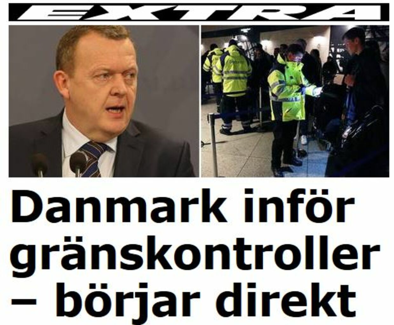 Det har vakt opsigt i udlandet, at Danmark har indført grænsekontrol. Her er det fra den svenske avis Aftonbladet.