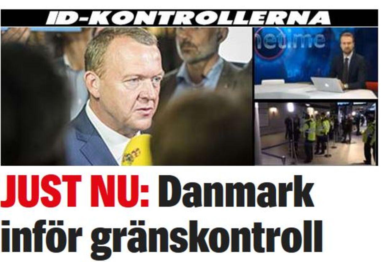 Expressens nyhed om grænsekontrollen ved den dansk-tyske grænse.