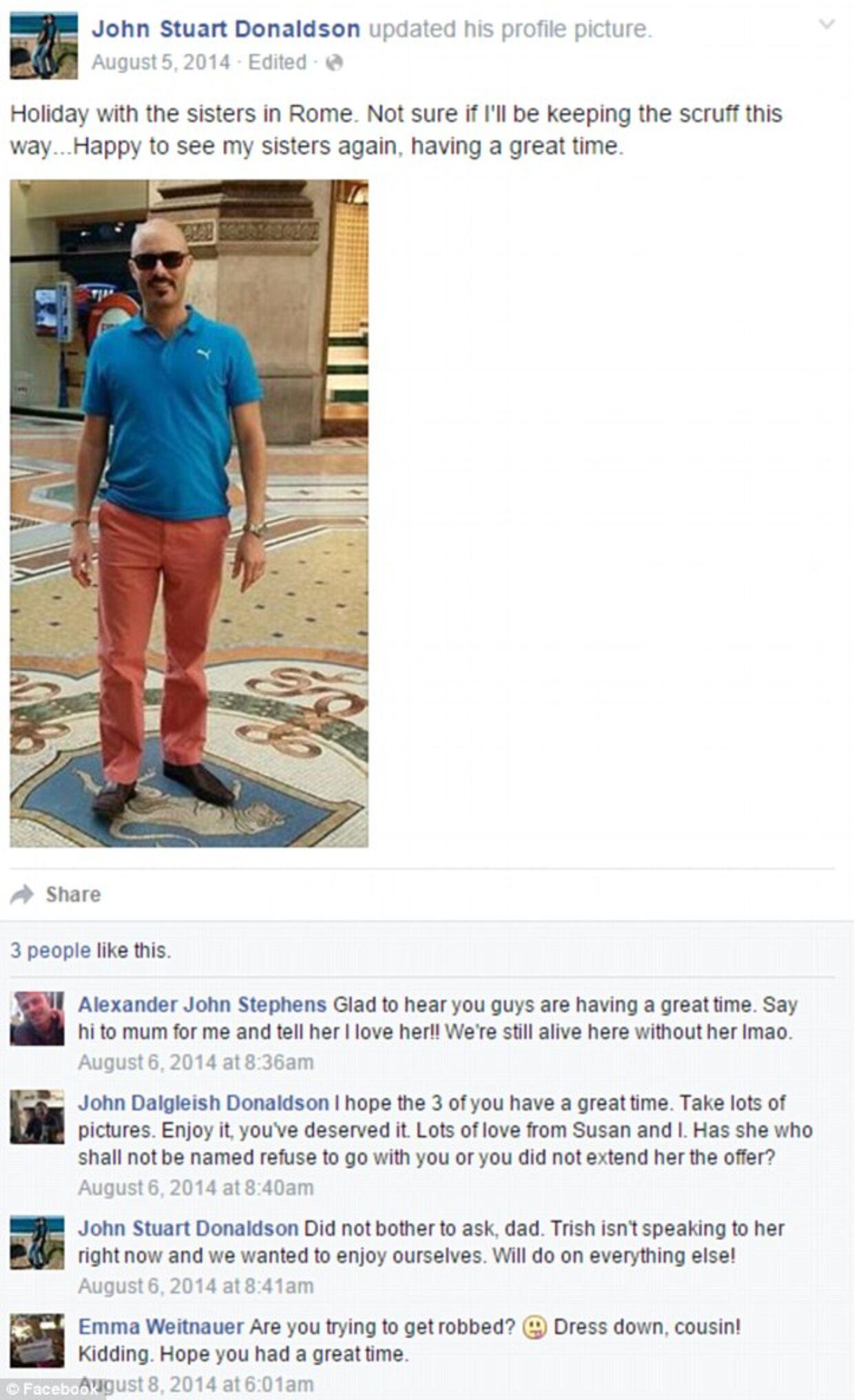 Denne Facebook-profil, der ser ud til at tilhøre kronprinsesse Marys bror, John Donaldson, er falsk. Det oplyser Kongehuset til BT. Billedet er et screendump fra den britiske avis Daily Mail.