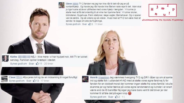TV 2 Danmark og DR har oplevet shitstorm på Facebook, efter de offentliggjorde deres indsamling til 'de katastroferamte områder i og omkring det borgerkrigshærgede Syrien'.