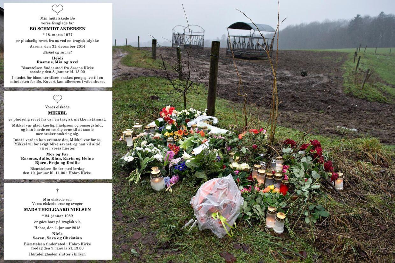 Familie og venner til de tre mænd, der mistede livet i fyrværkeriulykker nytårsaften, har tirsdag indrykket deres dødsannoncer i Hobro Avis.