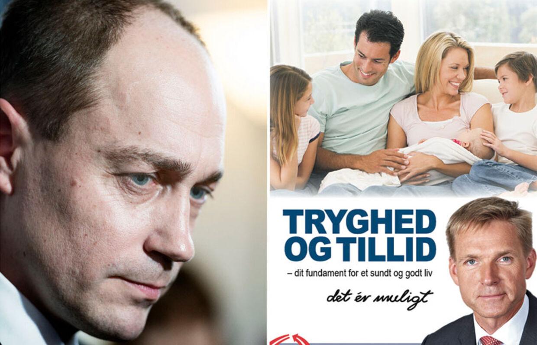 Transportministeren langer ud efter DF-annonce, der illustrer dansk tryghed med en amerikans familiel. Annoncen er taget fra DF's hjemmeside, hvor sætningen, som Heunicke hentyder til, imidlertid ikke er med. Foto: Liselotte Sabroe/Dansk Folkeparti