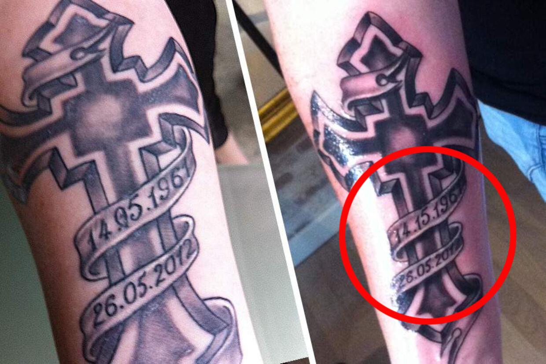27-årig Chalotte Nielsen har fået tatoveret en forkert dato hos tv-kendissen Linse Kesslers tattoo-butik 'Tattoo Artistico Bryggen'. Her ses et billede af den oprindelige tatovering og forsøget på at rette datoen.