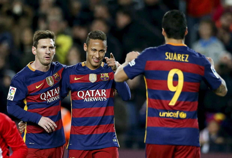 En trio med mål i: Lionel Messi, Neymar og Luis Suarez. MSN