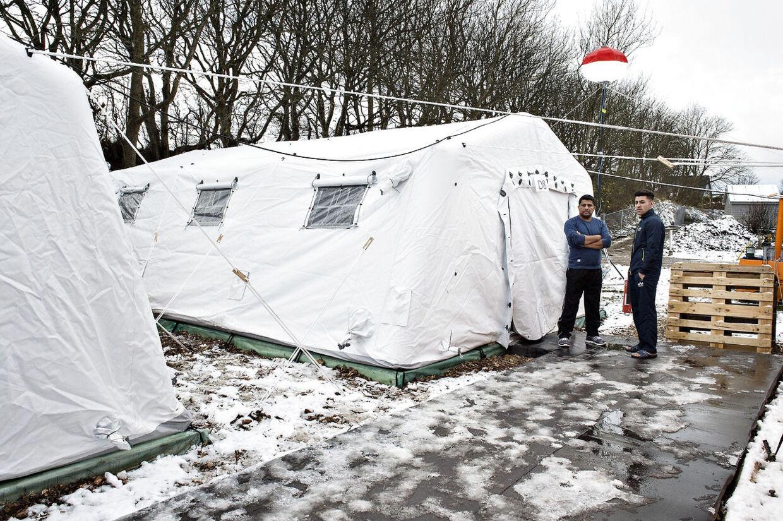 Her ses den nyoprettede flygtningelejr hos Beredskabscenter Thisted. Lejren består af små lejligheder i gymnastiksalen, diverse rum og telte. Her ses teltpladsen