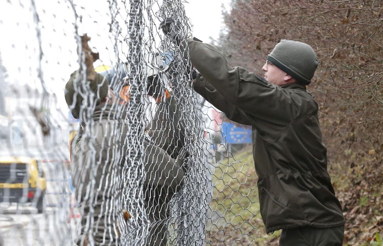 Soldater fra den østrigske hær bygger et hegn i nærheden af grænsen til Slovenien. Hegnet blev bygget i forsøget på at kontrollere flygtningestrømmene, som ankom til Østrig fra netop Slovenien.