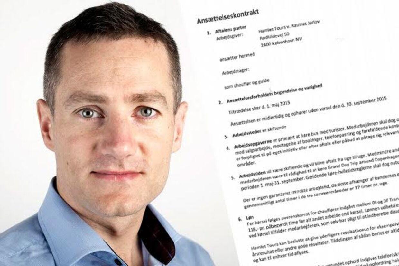 På fjerde år driver den konservative folketingskandidat Rasmus Jarlov sightseeingselskabet Hamlet Tours ved siden af sit politiske arbejde i Københavns Borgerrepræsentation. I dag får han hård kritik af 3F for de kontrakter, han skriver med sine ansatte.