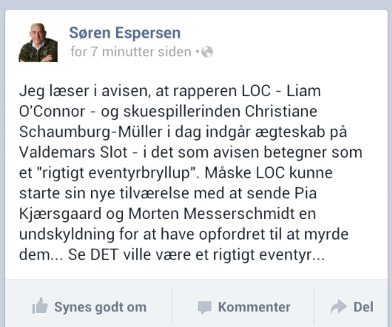 Sådan så den opdatering ud, som Søren Espersen postede på sin facebook-væg. Den måtte han hurtigt slette og komme med en undskyldning. Han havde blandet rappere Kidd sammen med L.O.C.