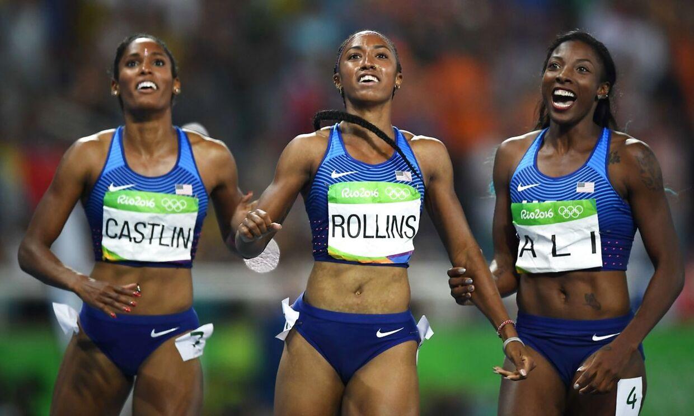 Tredobbelt amerikansk på OL-podiet i Rio i sommer. Brianna Rollins (i midten ) Nia Ali (th.) og Kristi Castlin.
