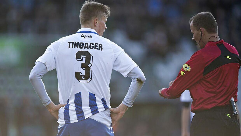 Frederik Tingager blev udvist af dommer Lars Christoffersen.