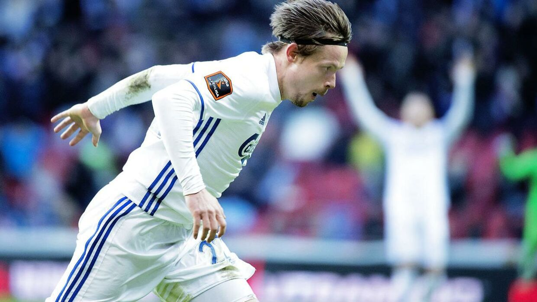 FCK vs FC Midtjylland. Alka Superligaen. Søndag den 23. april 2017. Peater Ankersen scorer til 3-0. (Foto: Claus Bech/Scanpix 2017)