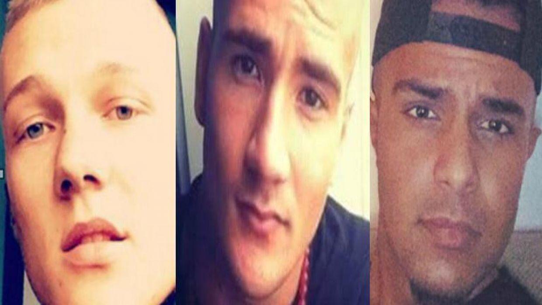 Phillip Rasmussen (tv.), Mike Vinther og Suhaib Jaffar blev myrdet på Frederiksberg i efteråret 2015.