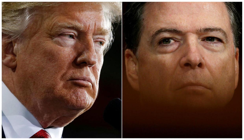 På billedet: USA's præsident Donald Trump og den fyrede FBI-direktør James Comey, der nu har indvilliget i at vidne i en offentlig høring, ifølge flere amerikanske medier.