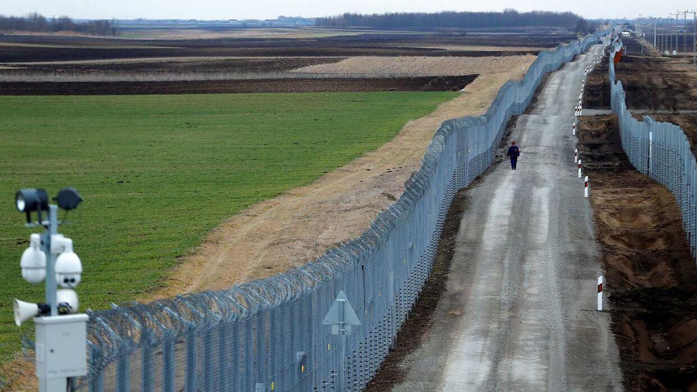 På billedet: En ungarsk betjente patruljerer langs grænsen mellem Ungarn og Serbien. Billedet her er fra den 2. marts 2017.