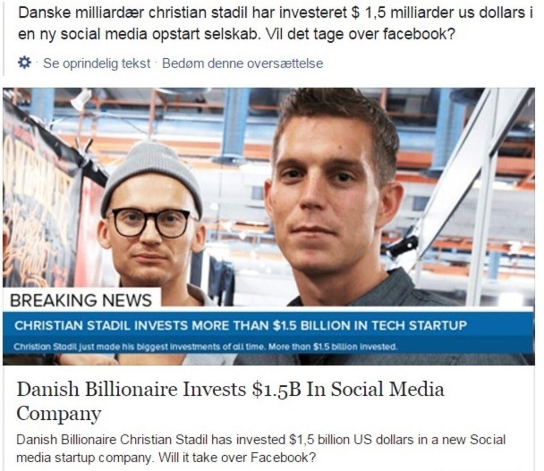 Det er opslag som dette, der fortæller historien om, at Christian Stadil har investeret små 10 milliarder kroner i en virksomhed. Historien er dog usand.