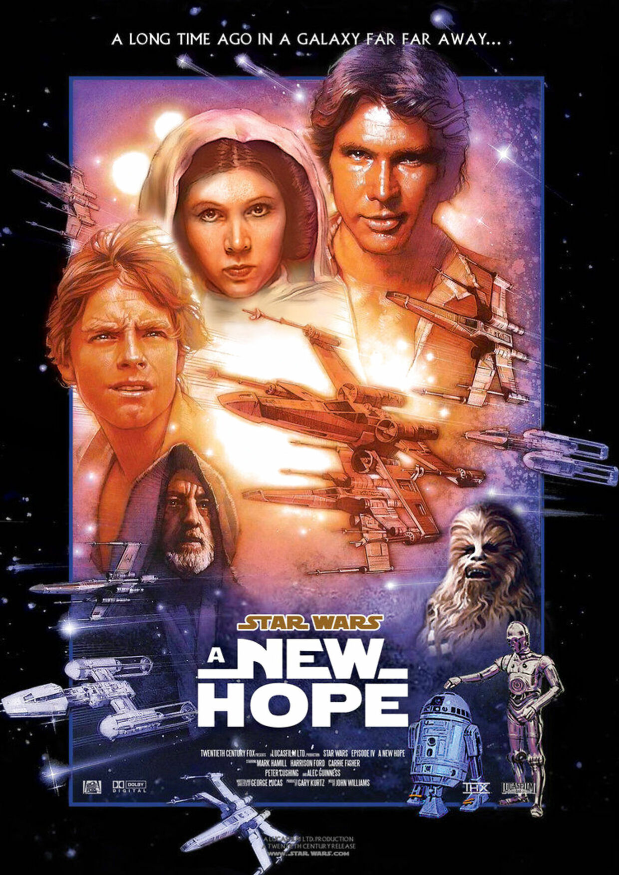 Her ses plakaten fra filmen Star Wars: 'A New Hope'.