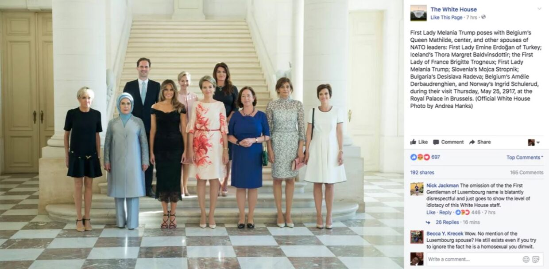 Det oprindelige opslag fra Det Hvide Hus, hvor den luxembourgske premierministers ægtefælle, Gauthier Destenay, ikke er nævnt.