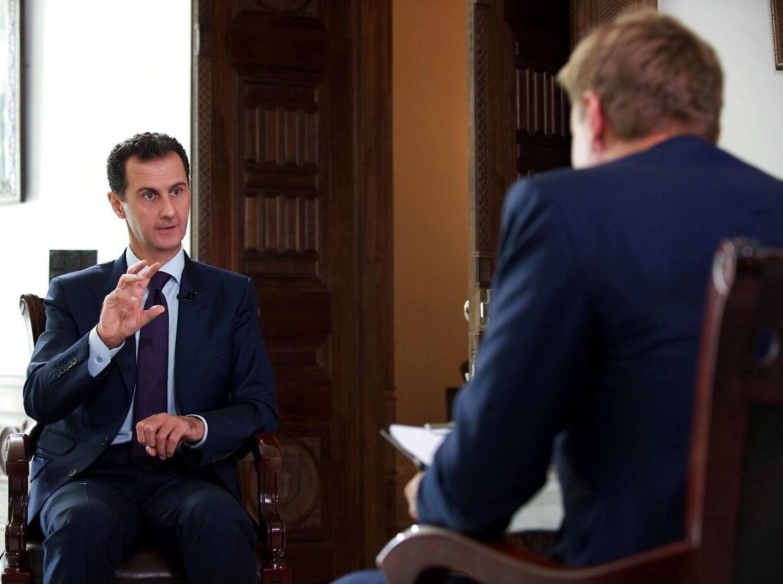 Syriens præsident Bashar al-Assad blev interviewet af Rasmus Tantholdt i et af sine paladser i Damaskus 5. oktober 2016.