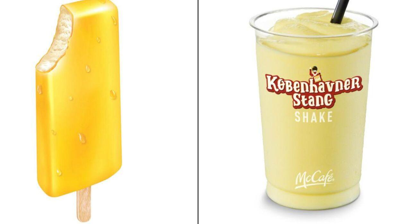Her ses et reklamefoto af den klassiske Københavnerstang. Ved siden af står den nye milkshake.