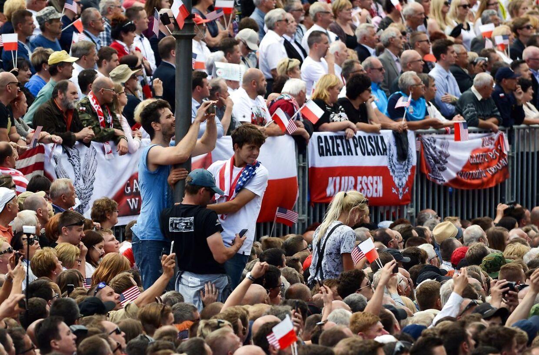 Store folkemængder ved Donald Trumps tale.