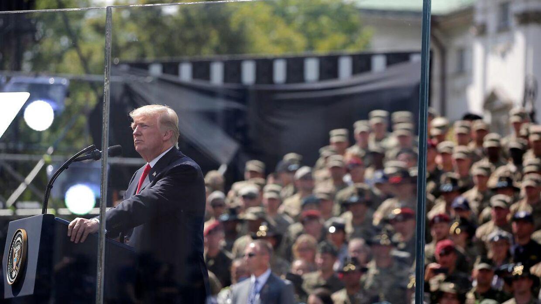 Donald Trump på Krasinski-pladsen i Warszawa, Polen.