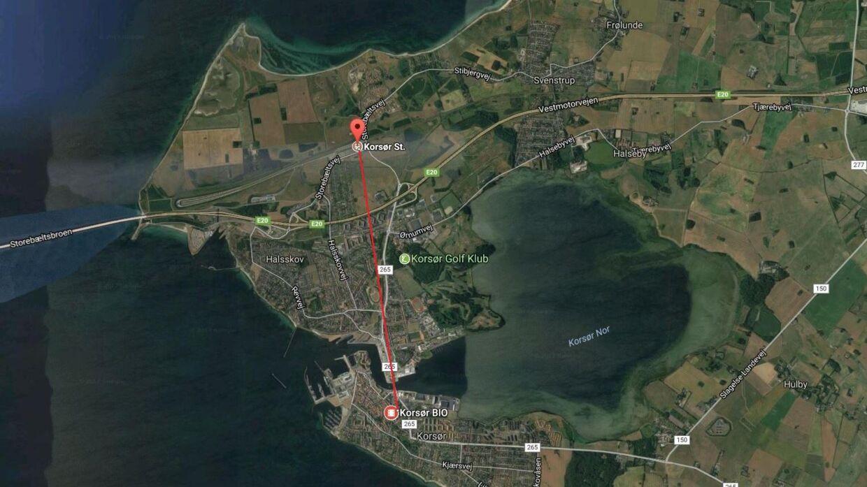 Afstanden mellem Korsør Station og Emilie Mengs hjem i Korsør by.