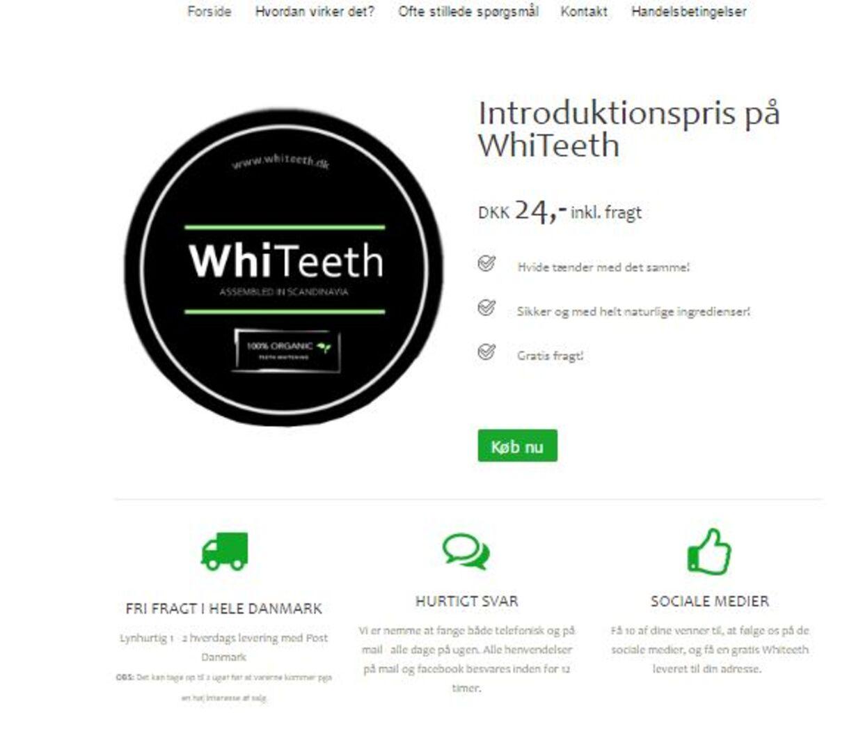 Whiteeth.dk's oprindelige hjemmeside. Ikke et ord om nogen abonnementsordning.